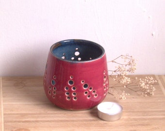Tealight holder, candle  luminary,  Wheel thrown pottery,  Votive candle holder, Centerpiece candle, Unique Pottery gift.