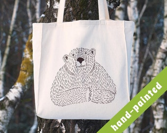 animal lover gift - mama bear tote bag/  bear bag, papa bear, grizzly bear, grizzly, woodland animals, brown bear, animal lover gift