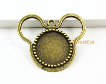 10Pcs Antique Brass Mickey Mouse Cabochon Base Setting Charm Pendant 38x32mm - Inside: 18mm (BASE062-27328)