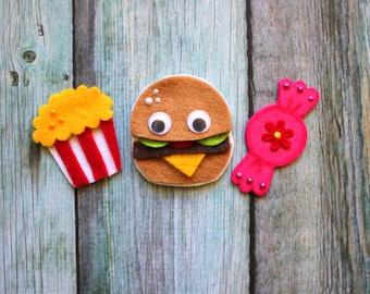 Scrapbook Embellishments - TREAT CUTENESS - Felt Scrapbooking Embellishment, Project Life, Hair Findings; popcorn, burger, candy - Felt Food