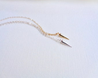 Spike Necklace, Gold or Silver Spike Pendant Necklace, Delicate Layer Necklace, Minimalist Jewelry, Gift For Her