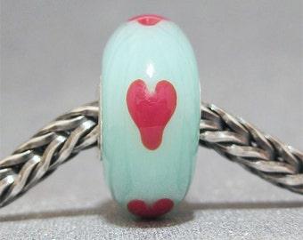 SMALL CORE Handmade Lampwork Bead Glass Big Hole Bead Red Hearts on Seafoam