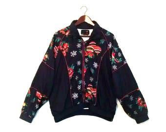 Vintage cute ugly Christmas holiday windbreaker jacket