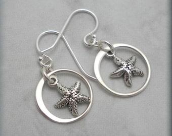 Starfish Earrings, Star Fish Earrings, Beach Earrings, Ocean Earrings, Beach Jewelry, Sterling Silver, Nautical Earrigs