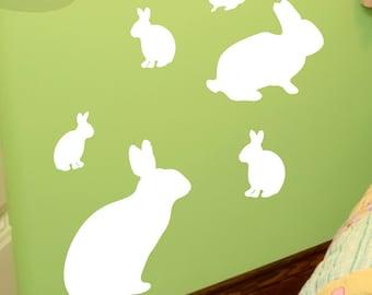 Bunnies - Set of 6 - Vinyl Wall Decals