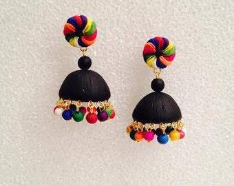 Handmade polymer clay jhumka/ jhumki earrings black, multicolor and gold