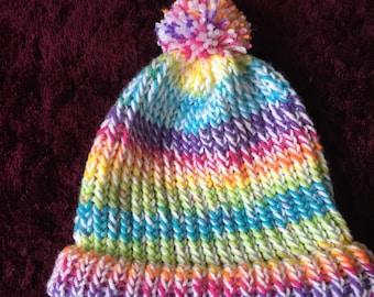 Rainbow Unicorn Bobble Beanie Hat