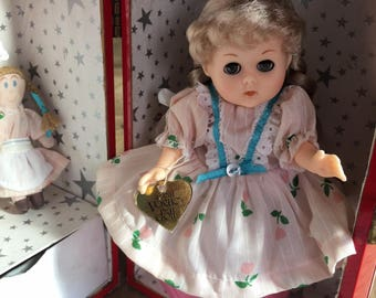 Vintage Vogue doll, Cass doll case, vintage Ginny doll and clothes with 1960 metal case