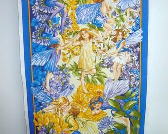 Fabric Miller From Dawn Till Dusk Fairies PANEL DC6437-NITE  Victorian Style Fairies Flowers Purple border