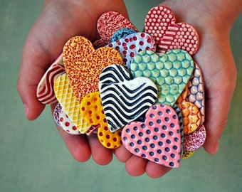 Wedding Favors- Bulk Order of Colorful Hearts- Ceramic Heart Magnets