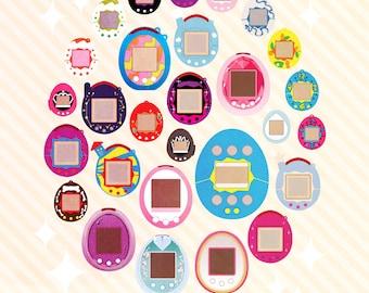 Tamagotchis du monde | années 90 art, impression des années 90, 90 s affiche, des années 90 nostalgie, affiche rétro, impression rétro, des années 90 jouets, infographie, animal de compagnie virtuel