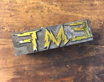 Vintage Letterpress Stamp All Metal Block EMF Electrical Lightening Advertising
