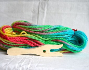 wooden lucet -knitting fork-  with Colorful pure Wool / lucet cord