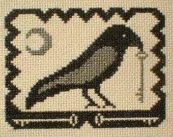 PDF E pattern emailed Primitive Halloween Crow Cross Stitch Pattern Sampler 48
