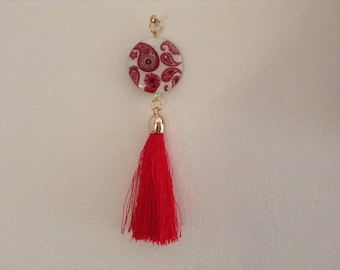 Red tassel and Pearl pendant