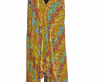 Boho Embellished Scarf Maxi Dress, Bohemian Kaftan Maxi Dress Beaded Evening Gown, Embroidered Embellished Evening Gown Sexy Back Less Dress