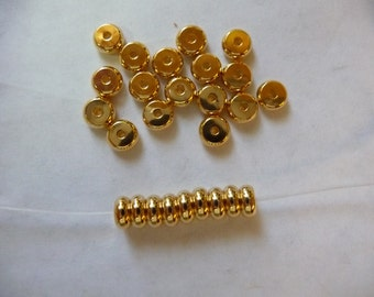 Bead, Gold Plated, Brass, 5mm, Heishi, Pack Of 16 beads.
