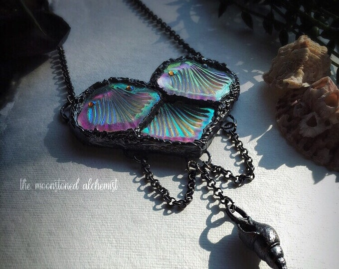 "Custom Ordered Mermaid Scale Heart Amulet in ""Mermaid Queen"" - Angel Aura Mermaid Scales and Shells Amulet"