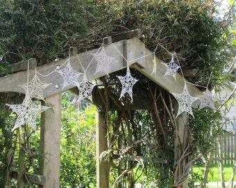 rustic wedding garland, crochet stars