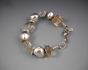 Fine Silver PMC Handmade Beads and Clear Crystal Beaded Bracelet KHB1507