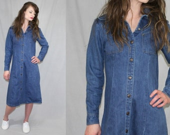 Vintage 70s Landlubber Denim JEAN Snap Midi Dress Retro Boho Duster Jacket S