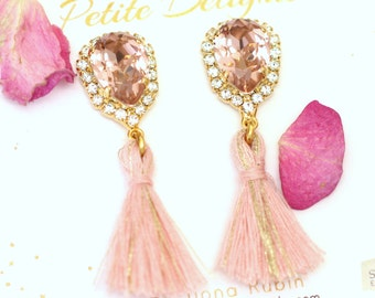Blush Earrings, Blush Pink Crystal Earrings, Tassel Earrings, Bridal Blush Earrings, Bridesmaids Earrings, Powder Pink Earrings.