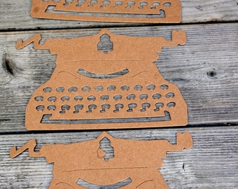 Typewriter Chipboard Die Cut Set of Three