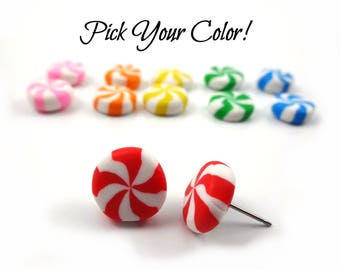 Peppermint Candy Stud Earrings w/ Stainless Steel Posts - Kawaii Jewelry - 6 Colors Available - Peppermint Swirl Candy Jewelry