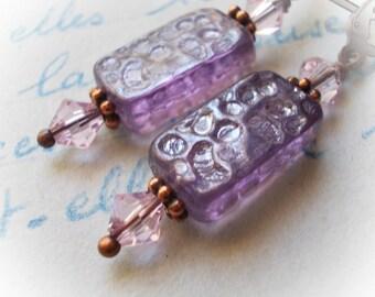 Lavender earrings Vintage style earrings Dangle earrings amethyst purple violet glass beaded renaissance romantic new retro womens earrings