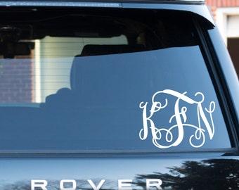 Personalized Monogram Car Decal Vine Font Monogram Vinyl Decal Preppy Southern Interlocking Letters Car Decal