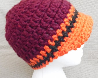 Newsboy Cap, Brimmed Beanie, Hometown, Burgundy, Orange and Black