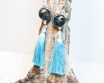 Blue Tassel Earrings with Marbled Czech Glass on Silver Plated Wire - Morning Spirit - Turquoise Blue Earrings Boho Chic Earrings