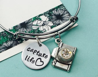 Camera Bracelet, Silver Camera Jewelry, Photographer Gift, Capture Life, Hand stamped Jewelry,  Photography