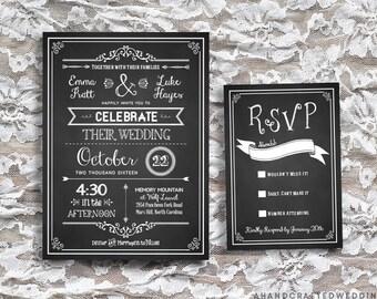 DIY Chalkboard Wedding Invitation & RSVP Card Template