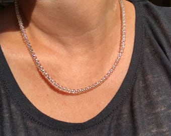 Handmade Minimalist Necklace with Magnetic Clasp and Silver Lined Crystal Czech Glass Peanut Beads