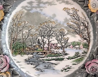 "DINNER PLATE 10.5"" by Adams England Currier Lithographer Winter In The Country Old Grist Mill Colored Engravings Roses Round Platter Vintage"