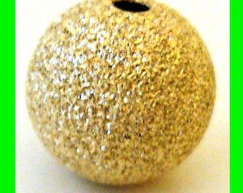 2pcs 10mm 14k yellow gold filled  seamless Stardust round beads GS20