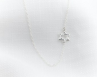 Silver Necklace - Silver Star Of David Necklace - Magen David necklace - Dainty silver necklace, Delicate sideways necklace, Jewish jewelry