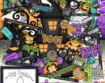 Halloween Digital Scrapbook Kit.  Halloween Themed Scrapbook Kit, Digital Papers, Clip Art, Word Tags and More. **INSTANT DOWNLOAD***
