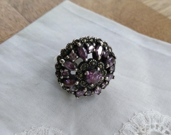 Vintage amethyst and 825 sterling silver ring