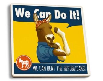 Rosie the Donkey - Democrat Political - LP Artwork (Set of 4 Ceramic Coasters)