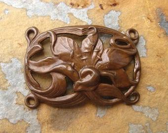 SALE!  Trinity Vintage Patina Lily Bracelet Link   -  Trinity Brass