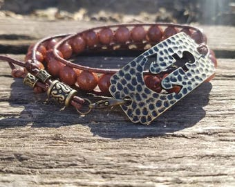 Brown Leather Double Wrap Beaded Bracelet