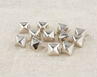 100Pcs Silver Tone Pyramid Square Studs 8mm / Pyramid Rivet Stud