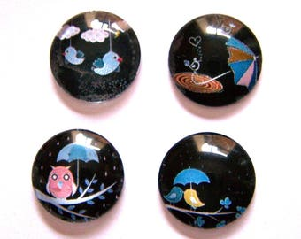 4 bird OWL 18mm image glass cabochons