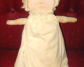 Folk Art doll hand made kids play vintage rare