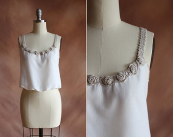chemisier en lin pantacourt débardeur coton blanc vintage des années 1970 avec crochet garniture / taille s