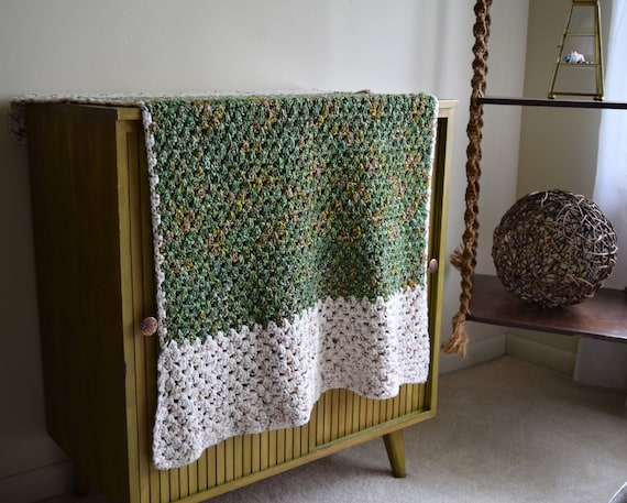 Small Vintage Handmade Oatmeal / Green Crocheted Throw Blanket ~ French Farmhouse, Folk, Natural, Boho