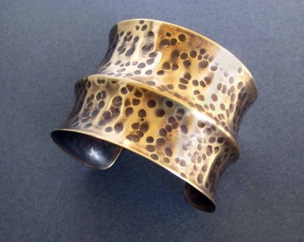 Hammered Bronze Cuff Bracelet Wide Cuff Rustic Tribal Jewelry Textured Distressed Metal Metalsmith 8th or 19th Bronze Anniversary Jewelry