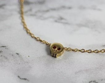 Tiny Skull Bracelet in 14kt Gold-Filled - Delicate Chain Bracelet with Minimal Skull Bead